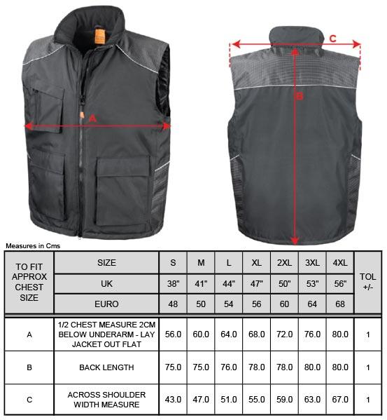 Grössentabelle GrössentabelleVostex Bodywarmer Result Work-Guard | R306X