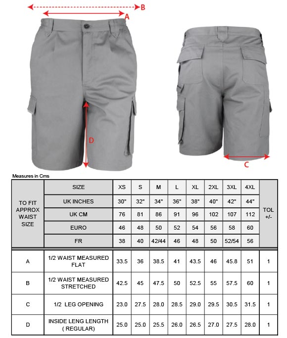 Grössentabelle GrössentabelleWorkwear Shorts Result Work-Guard | R309X