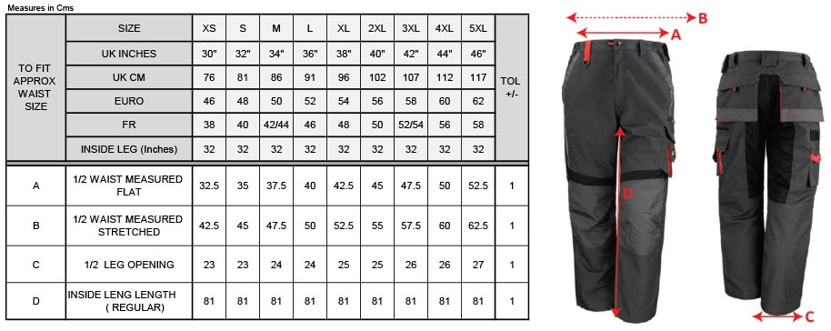 Grössentabelle GrössentabelleWorkwear Hose Result Work-Guard | R310X