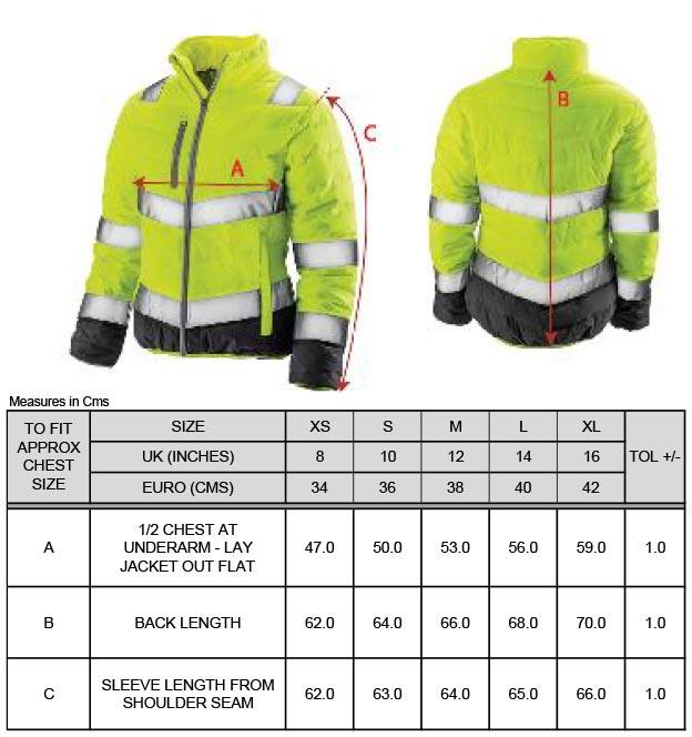 Grössentabelle GrössentabelleDamen Sicherheitsjacke Result | R325F
