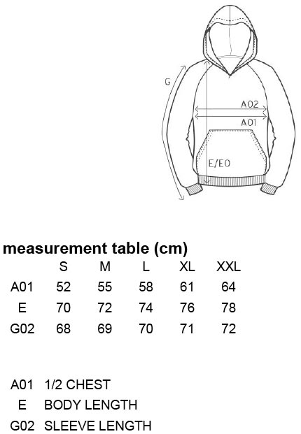Grössentabelle GrössentabelleHerren Kapuzensweater