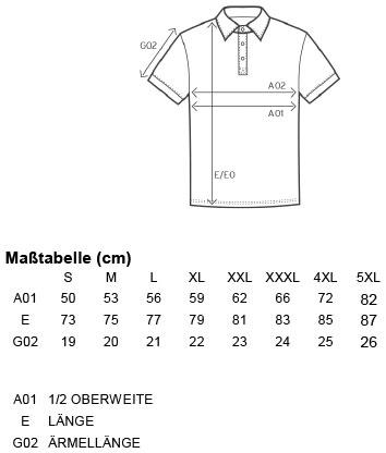 Grössentabelle GrössentabelleHerren Workwear Jersey Polo Promodoro   4020