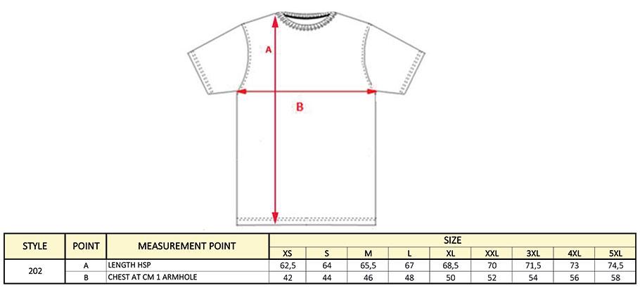 Grössentabelle GrössentabelleDamen T-Shirt